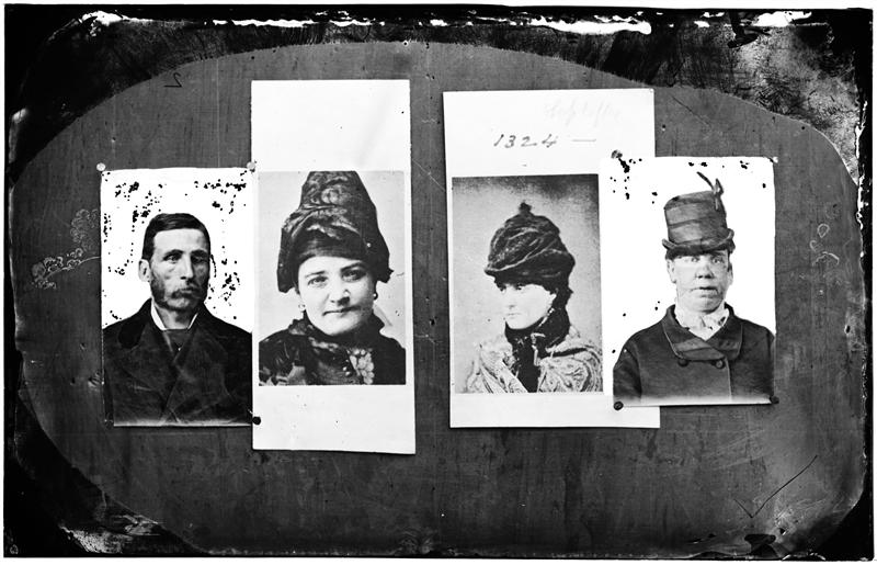 "Rogue's Gallery, Funeral Wells & Sofy Levy; and 2 other women thieves -- the prettiest & the ugliest in the Rogue's Gallery put together. The Pretty one is a blackmailer; the ugly one a horse theif. DATE:ca. 1890 Mug shots depicted differ from title description. Based on descriptive information in Thomas Byrnes's ""Professional Criminals of America"" (1886 and 1895), the image purported to be of James ""Funeral"" Wells does not look like him. According to Byrnes, Sofy Levy's real name was Sophie Lyons."