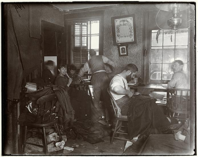 """""""Knee-pants"""" at forty five cents a dozen -- A Ludlow Street Sweater's Shop. DATE:ca. 1890"""