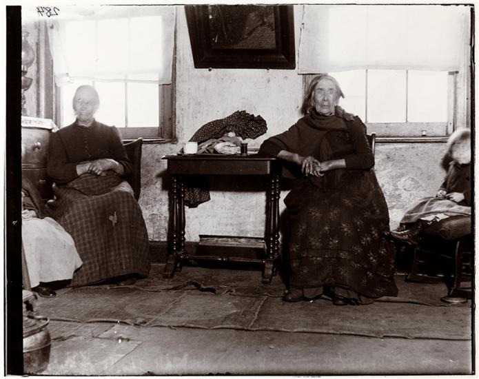 The Old Gribbon sisters at 5 Van Dam Street photographed Dec. 1895 after I [Jacob A. Riis] had got them pensioned by Miss Emily Vanderbilt Sloane. DATE:1895
