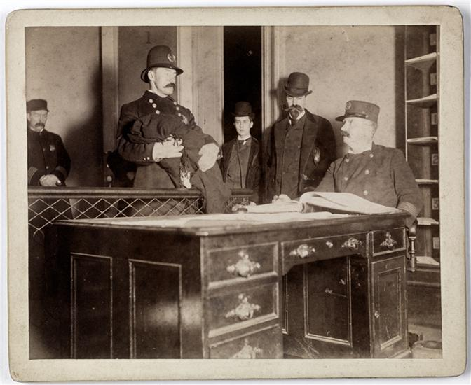 [Bringing foundling to police.] DATE:ca. 1895