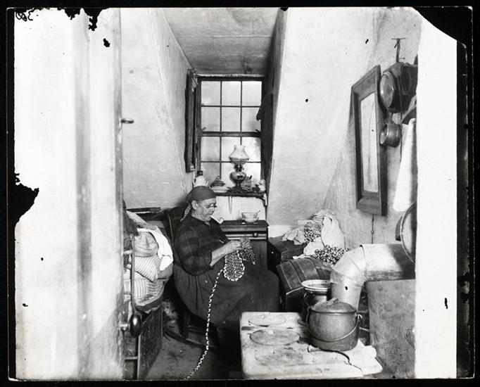 Old Mrs. Benoit in her Hudson Street attic, an Indian widow who lived there four years. DATE:ca. 1897
