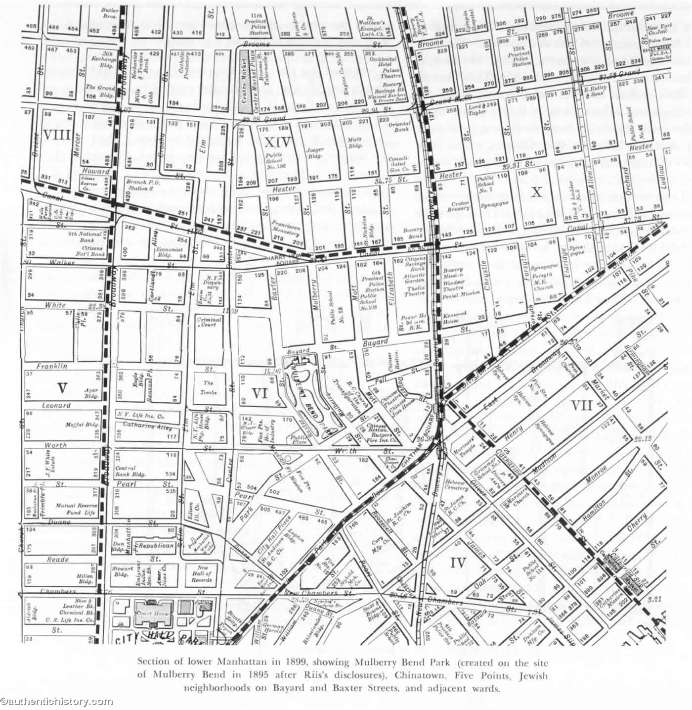 A map of the area Jacob Riis surveyed while collecting material for How the Other Half Lives.