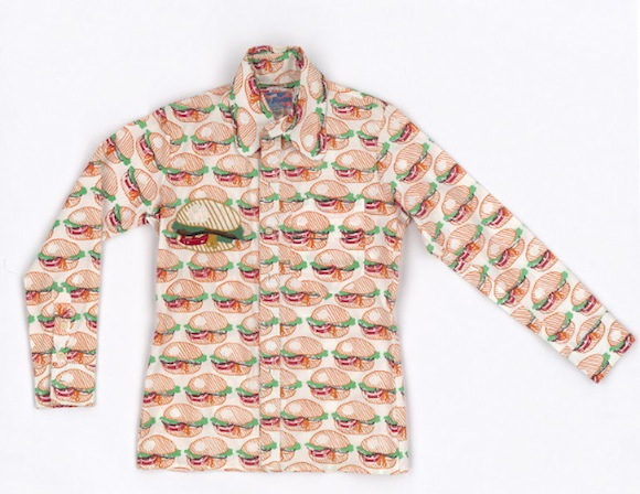 Mr Freedom hamburger print shirt in the V&A's collection. Note appliqué