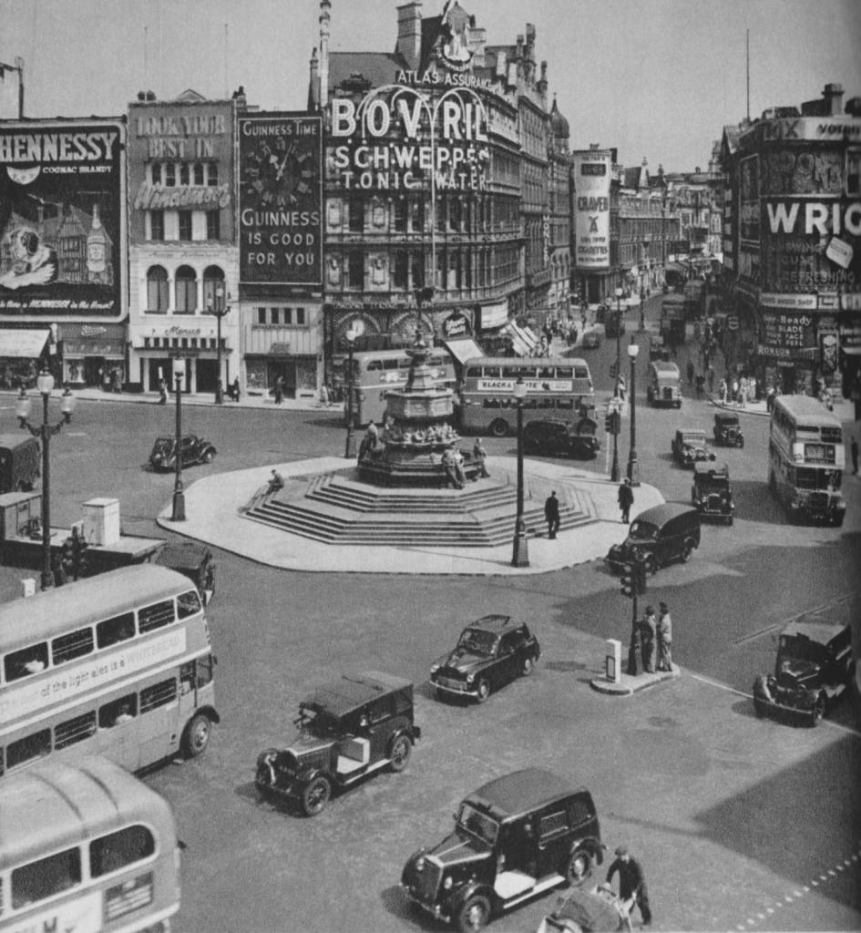 Piccadilly Circus in 1955, photo by Cas Oorthuys