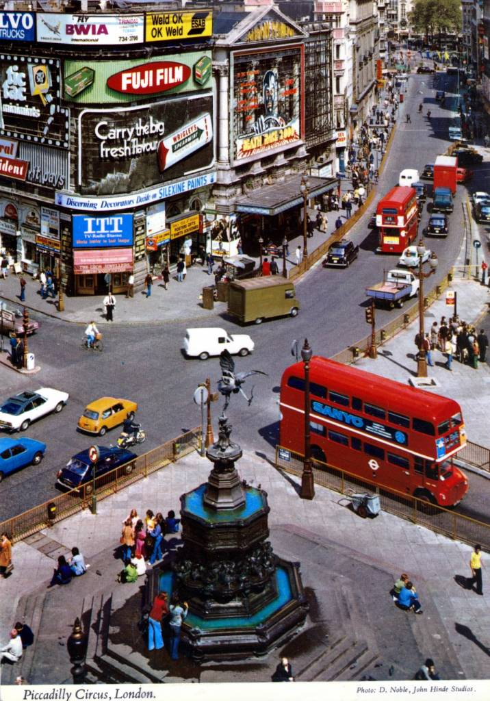 Piccadilly Postcard by D. Noble - John Hinde studio, 1975