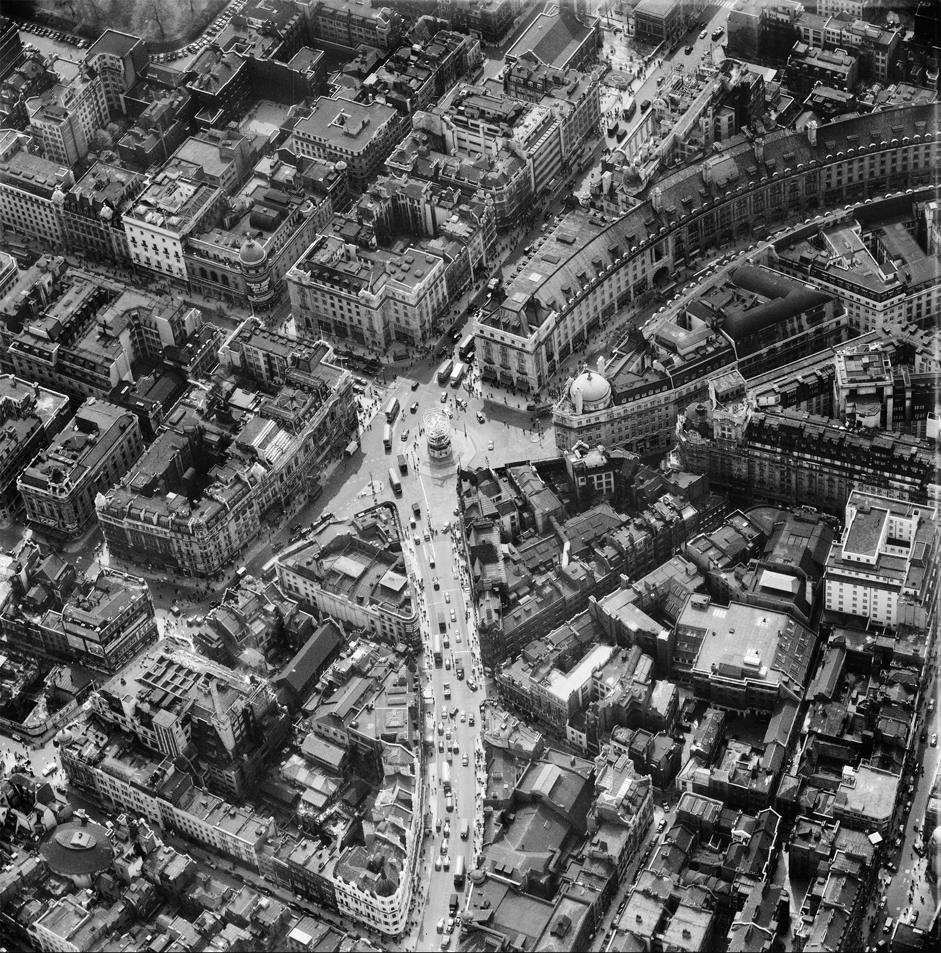 Piccadilly and Regent Street area of London in 1953. By Aerofilms Ltd