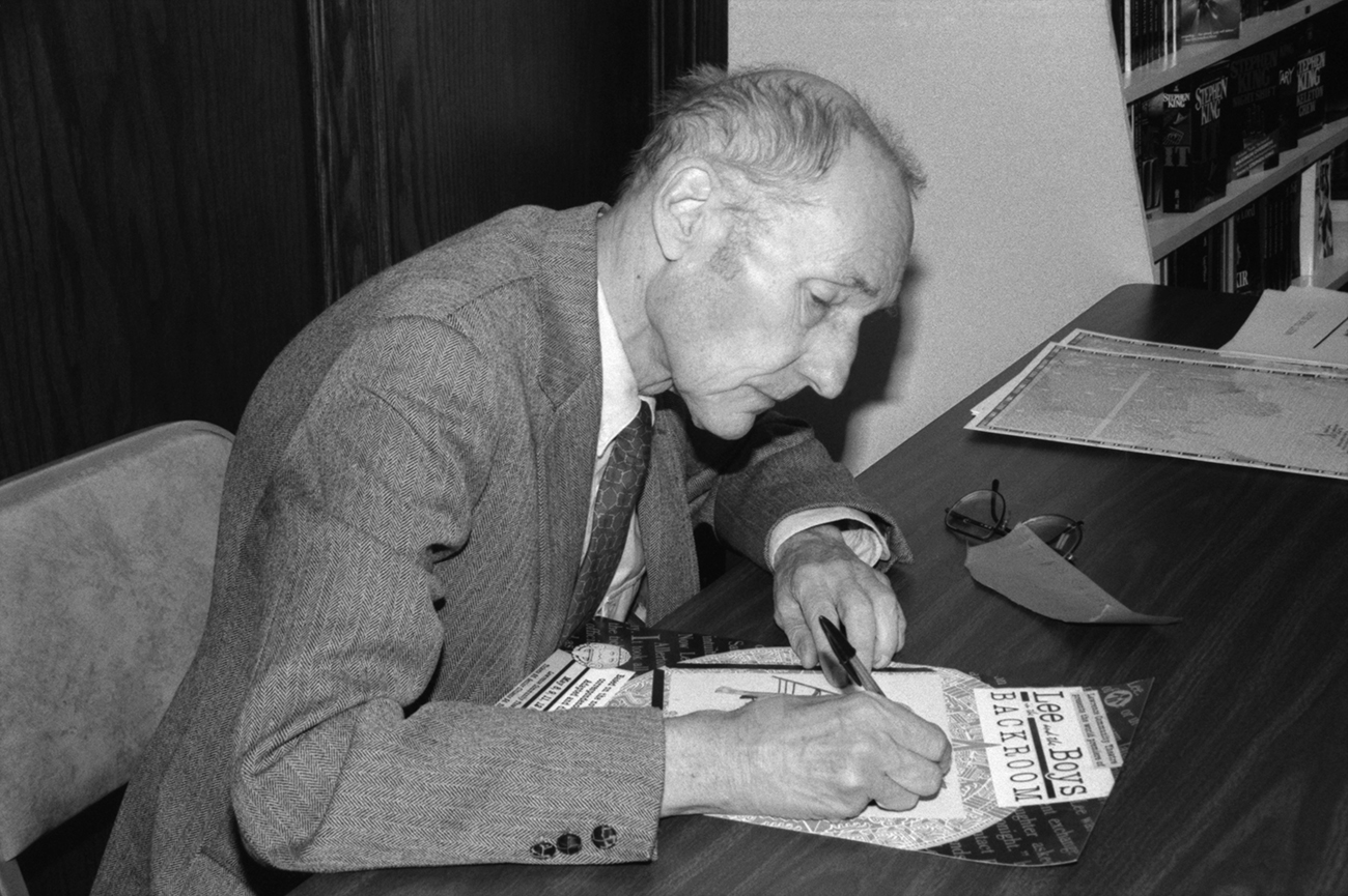 William Burroughs at book signing event in the Oread Book Shop. Lawrence Kansas