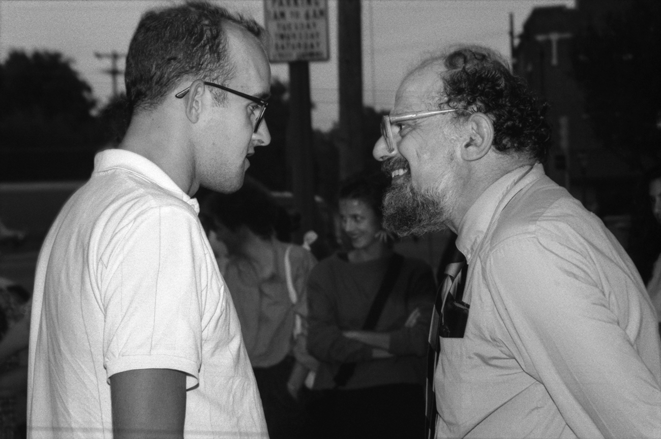 Keith Haring and Allen Ginsberg in downtown Lawrence. Kansas