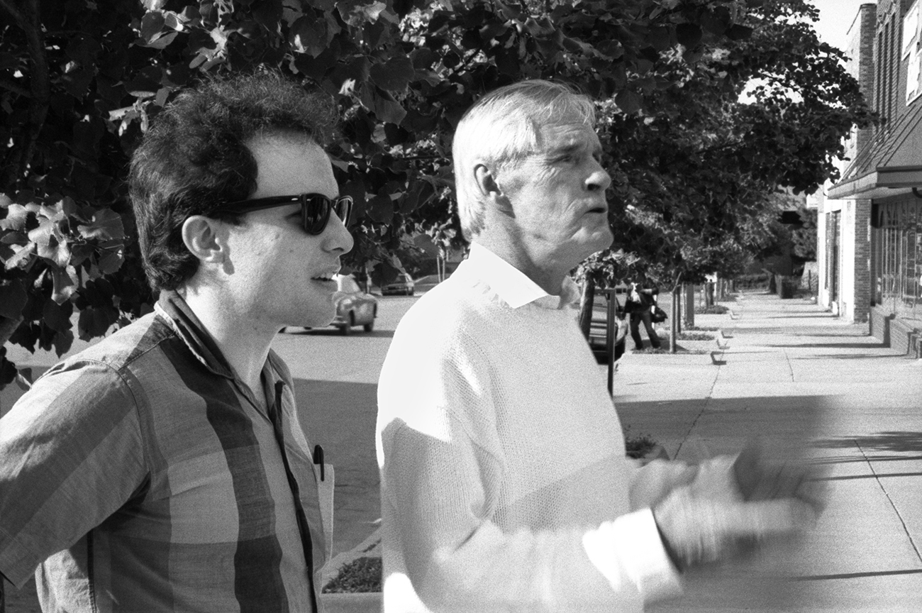 Jello Biafra and Timothy Leary in front of Liberty Hall. Lawrence, Kansas