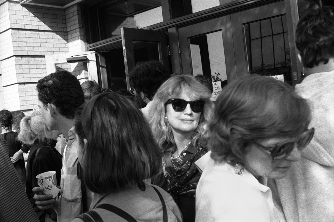 Marianne Faithfull exits Liberty Hall after performance. Lawrence, Kansas