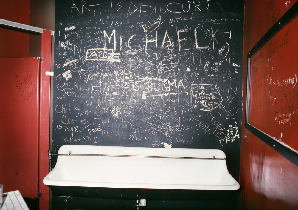 Pee trough with graffiti, 1980