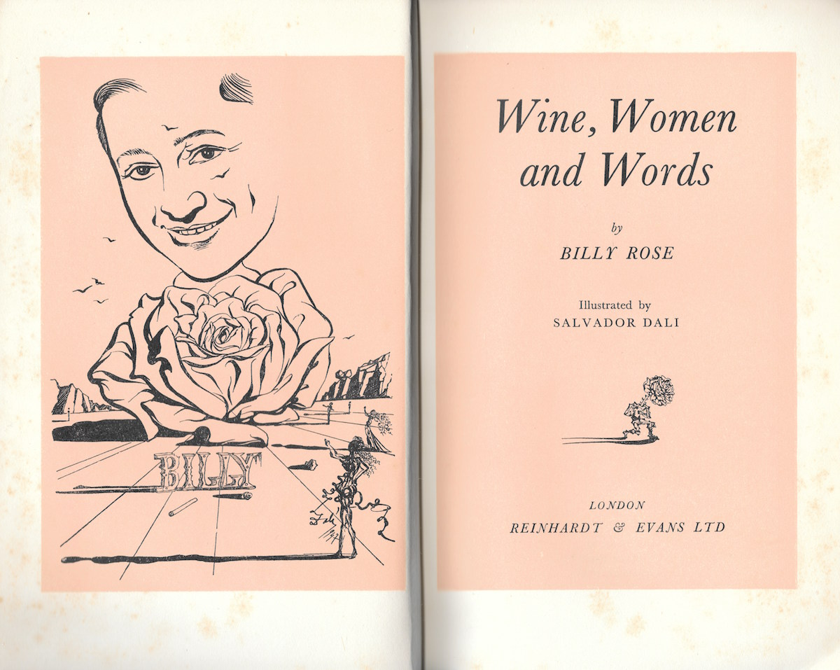 'Wine, Women and Words' by Billy Rose. Illustrated by Salvador Dali.
