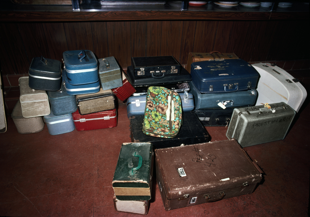 People's Temple luggage, 1979 My friend Tana and I went to the People's Temple auction on Geary Boulevard several months after the Jonestown mass suicide. I found it very powerful and depressing to see this small collection of empty luggage as a sad metaphor for the hollow promises Jim Jones made to his congregation