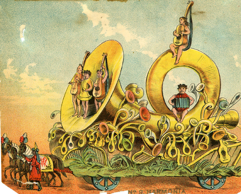 The Mystic Krewe of Comus' New Orleans Mardi Gras parade floats from 1886 . Theme - Visions of Other Worlds. Colour lithographs