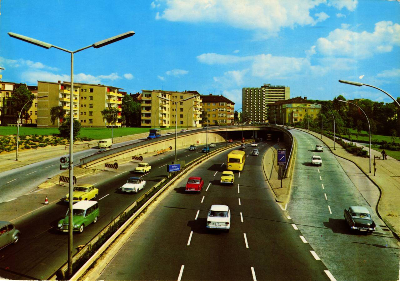 Berlin Autobahn postcard early sixties
