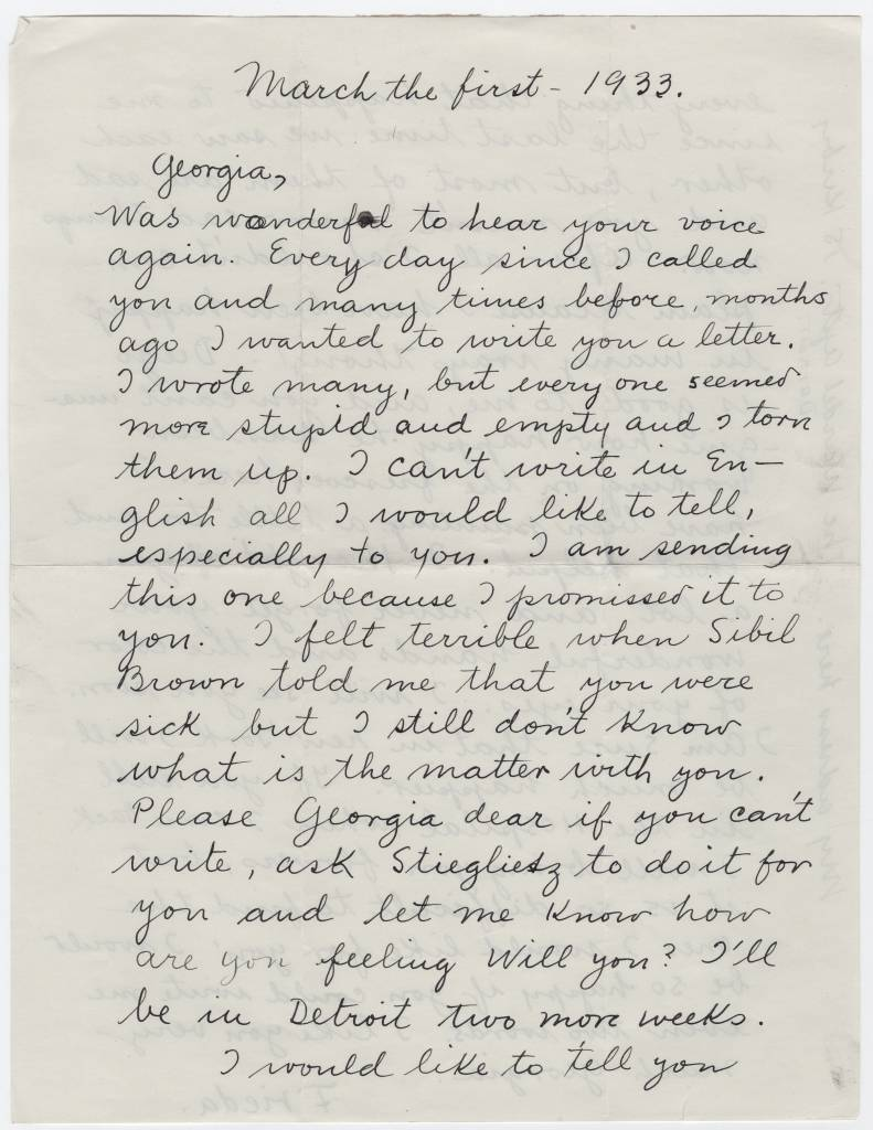 Georgia O'Keeffe Frieda Kahlo letter march 1933