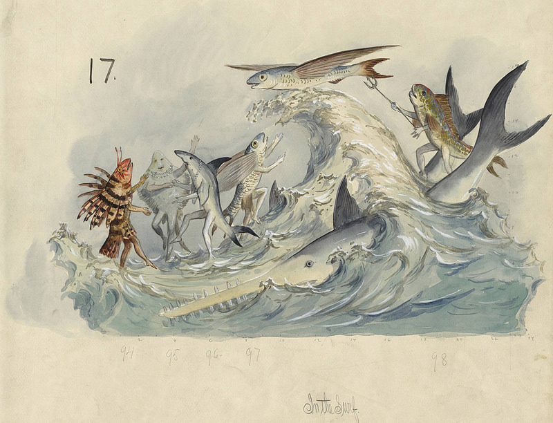 In The Surf, float design from Krewe of Proteus, 1896