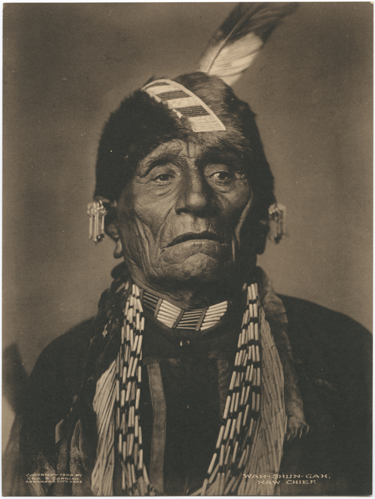 Wah-Shun-Gah. Kaw Chief. Creator: Cornish, Geo. B. (George Bancroft) Indian portraits Date: 1909