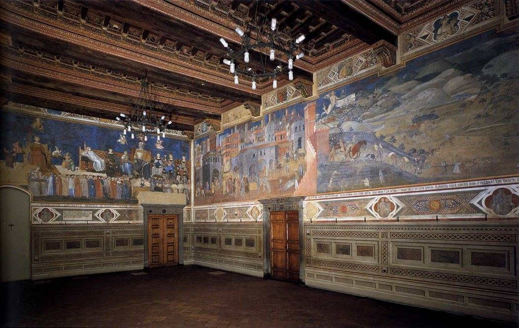 The Sala de' Nove in the Palazzo Publico, Siena, with Ambrogio Lorenzetti's frescoes, 1338 - 1339