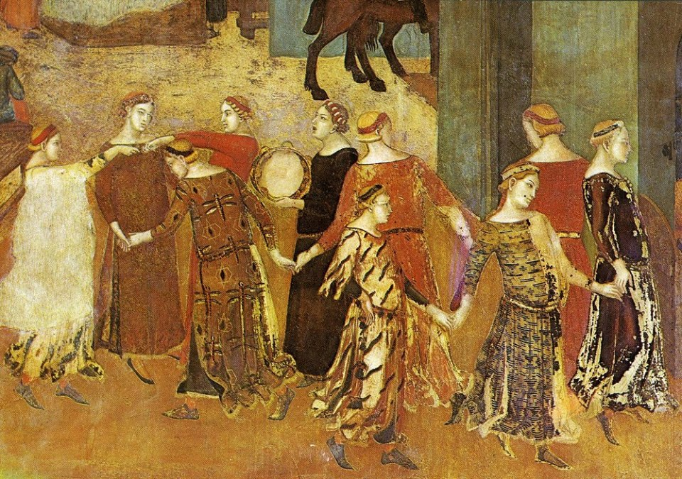 Ambrogio Lorenzetti, The Effects of Good Government, detail; dancing in the streets (illegally).