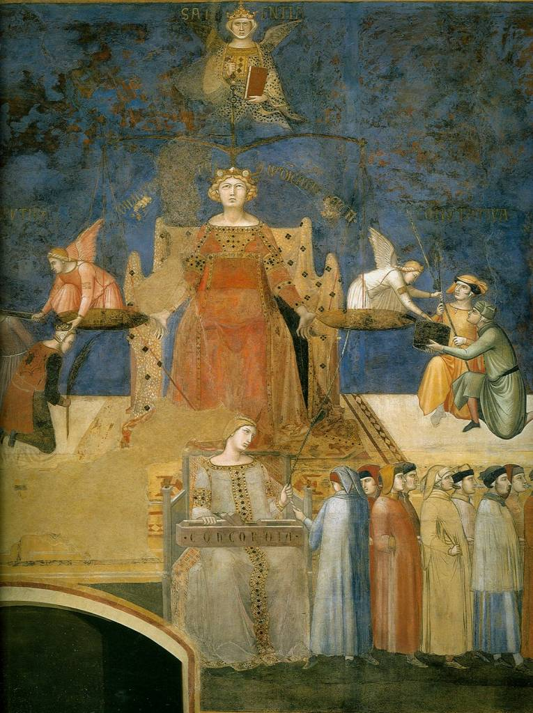 Ambrogio Lorenzetti, An allegory of Justice from the Allegory of Good Government. Concord sits at the feet of Justice and accepts the end of a chord from a Sienese citizen. The Common Good of Siena holds the other end in his right hand. Citizens hold the chord between them.