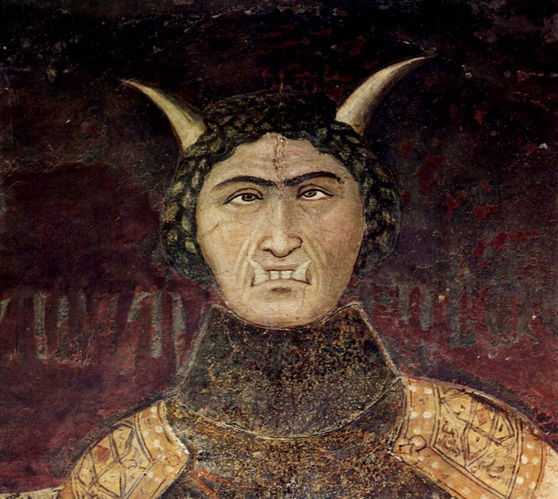 mbrogio Lorenzetti, Allegory of Bad Government, detail, the face of Tyranny.