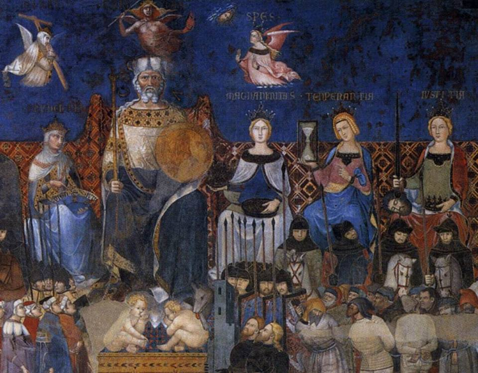 Ambrogio Lorenzetti, The Common Good of Siena personified and flanked by the Classical Virtues. Romulus and Remus are at his feet. Soldiers lead captive Florentines on the lower right.