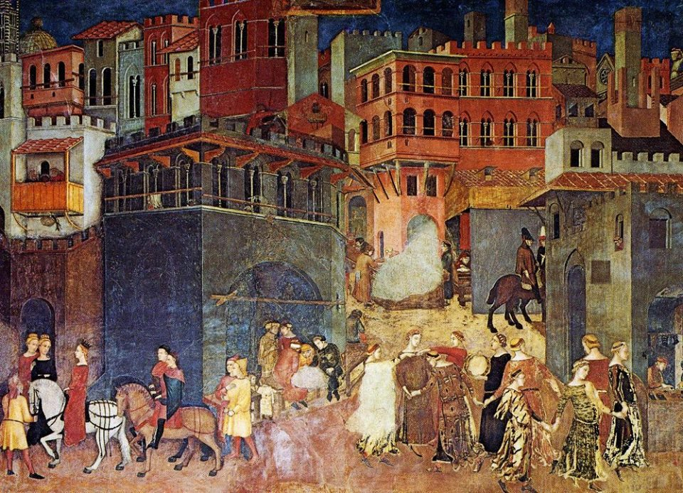 Ambrogio Lorenzetti, The Effects of Good Government, detail