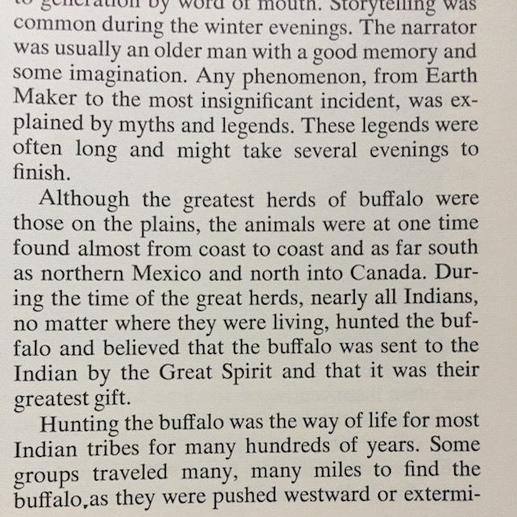 Morrow explained that Native Americans believed the buffalo was the gift of The Great Spirit