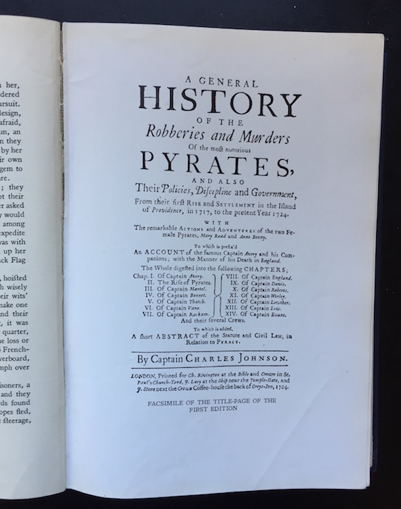 Facsimile of 1724 title page in the Routledge & Kegan Paul 1955 reprint A General History of Pyrates
