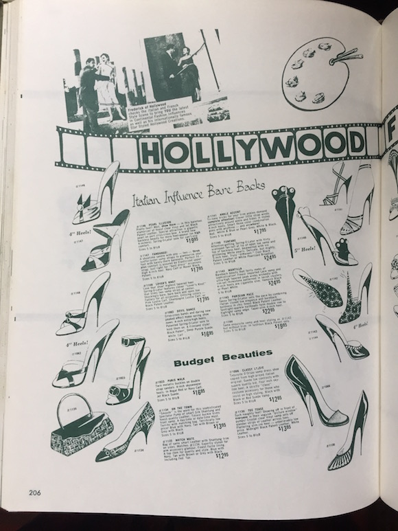 Stilletto sandal styles in the Frederick's book