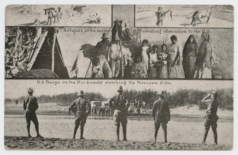 Title: Refugees at the border - awaiting admission to the U. S., U. S. Troops on the Rio Grande watching the Mexican Side. Creator: Unknown Contributors: Stein, Mex (publisher) Date: 1914