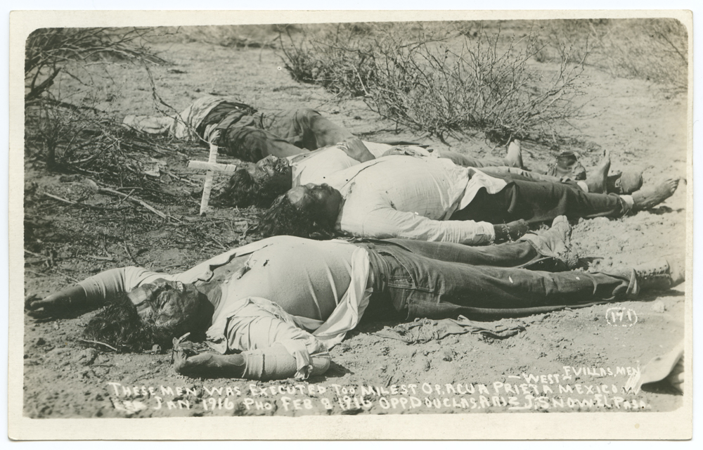 Title: F. Villas men. These men was executed too [sic] miles op. Agua Prieta Mexico. Jan 1916. Creator: J. Snow Date: February 8, 1916