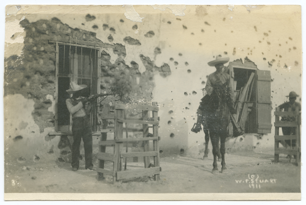 Title: [Mexican soldiers, one aiming rifle and one on horseback] Creator: W. F. Stuart Date: ca. 1910-1917