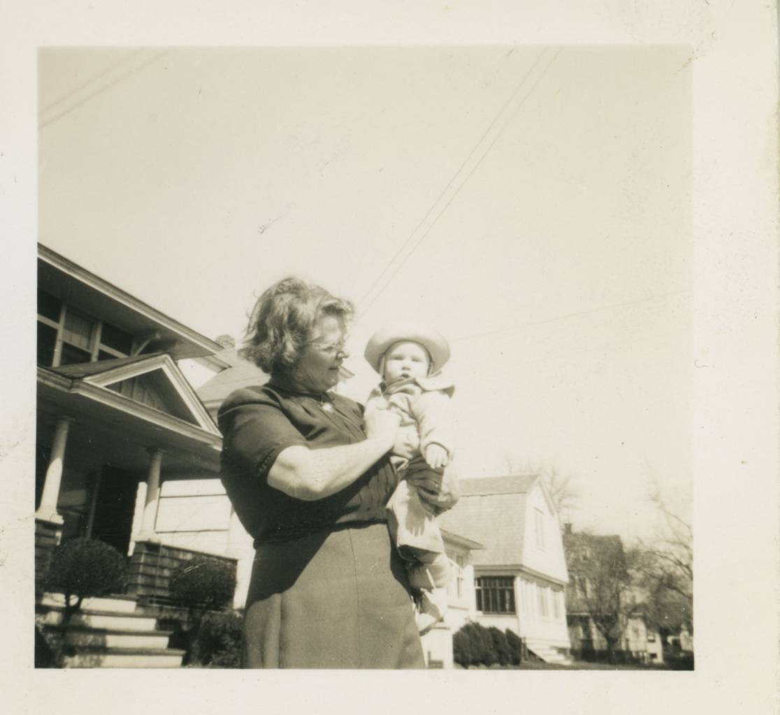 early pic of me (Ted Polhemus) with my father's mother (Nancy Allgor Polhemus) I think this is in front of my father's parents' home at 1205 9th Ave, Neptune City, New Jersey, 194