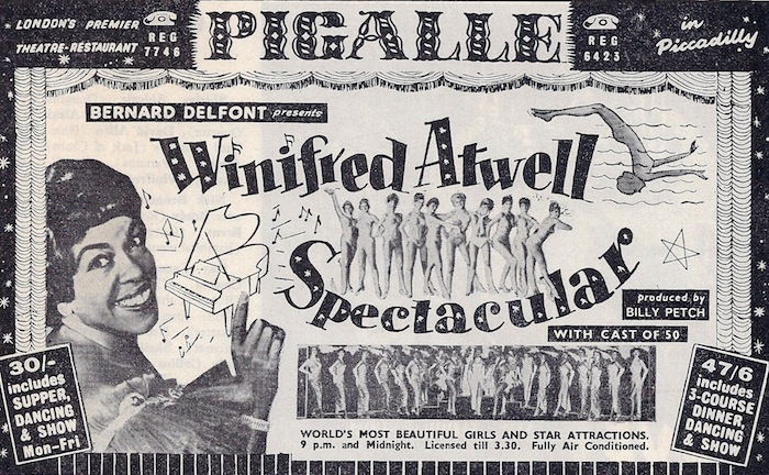 Winifred Atwell at the Pigalle nightclub on Piccadilly, 1961