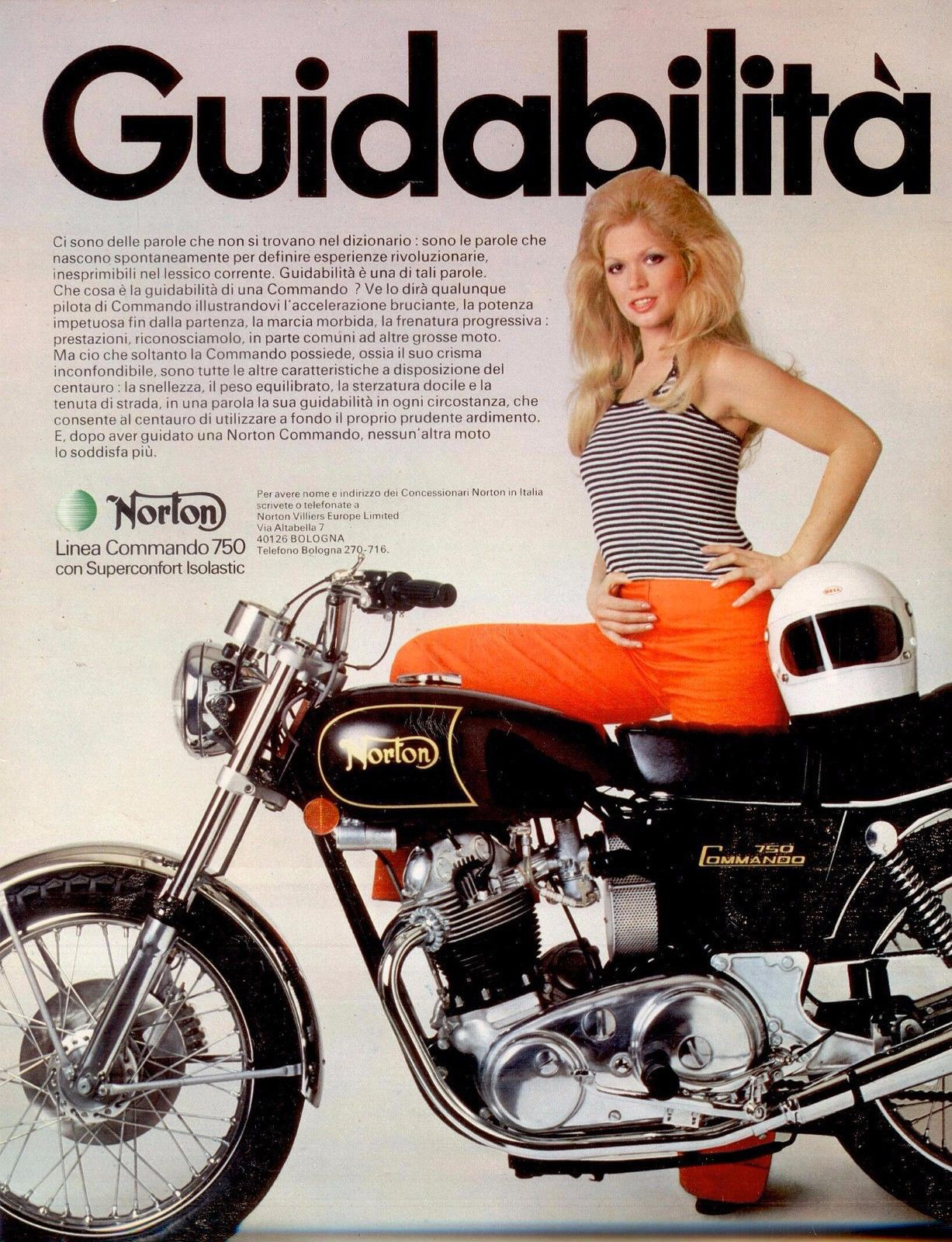 anni 70 MOTO NORTON 750 Commando Advert