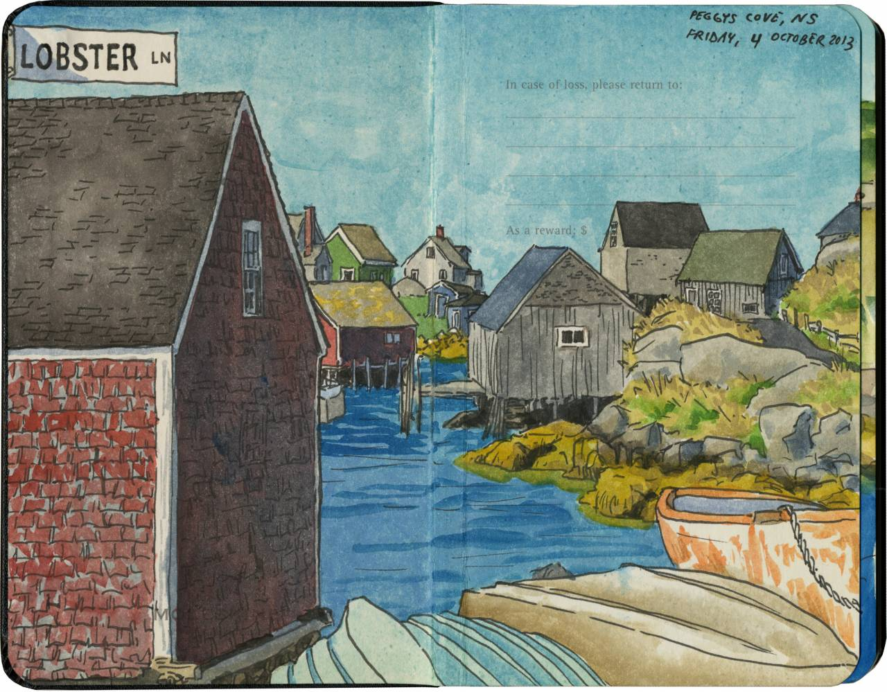 Chandler O'Leary drawings Peggys Cove