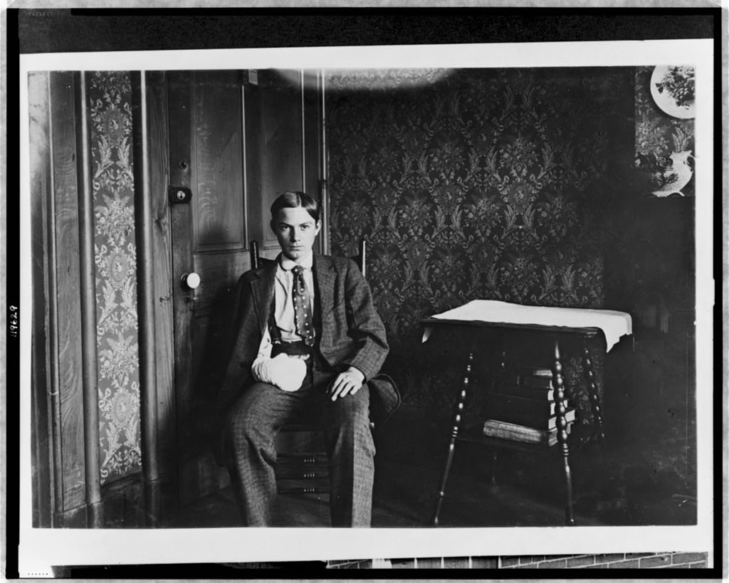 Lewis Hines, Lawrence J. Hill - 1125 Walnut St. 17 yrs. old March 1908. Had 4 fingers mashed off by stamping machine in lamp factory - Aug 1908. Location: Cincinnati, Ohio.