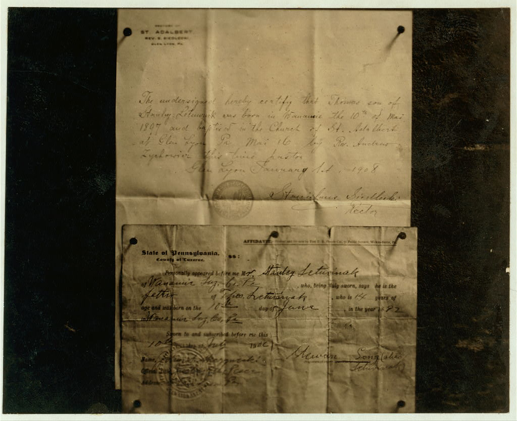 """Comparison of Baptisimal Record and Age Certificate of Stanley Letuvinak (American name, Thomas Long). Born according to baptismal record May 10, 1897; date of birth given in age certificate was June 10, 1893, in order to make him 14 years of age. He was killed by falling from a breaker at Wanamie, Pa., when only 10 years of age. The Coroner's Jury, said in its report, """"We find said company not responsible for the accident as they held affidavit from his father that he was 14 and the boy was away from his work when the accident occurred."""""""