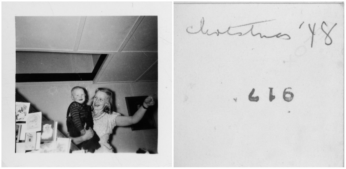Early pic of me (Ted Polhemus) with my mother ('Peggy' (Margaret) Polhemus) , 19 Oak Terrace, Neptune City, New Jersey, Christmas, 1948