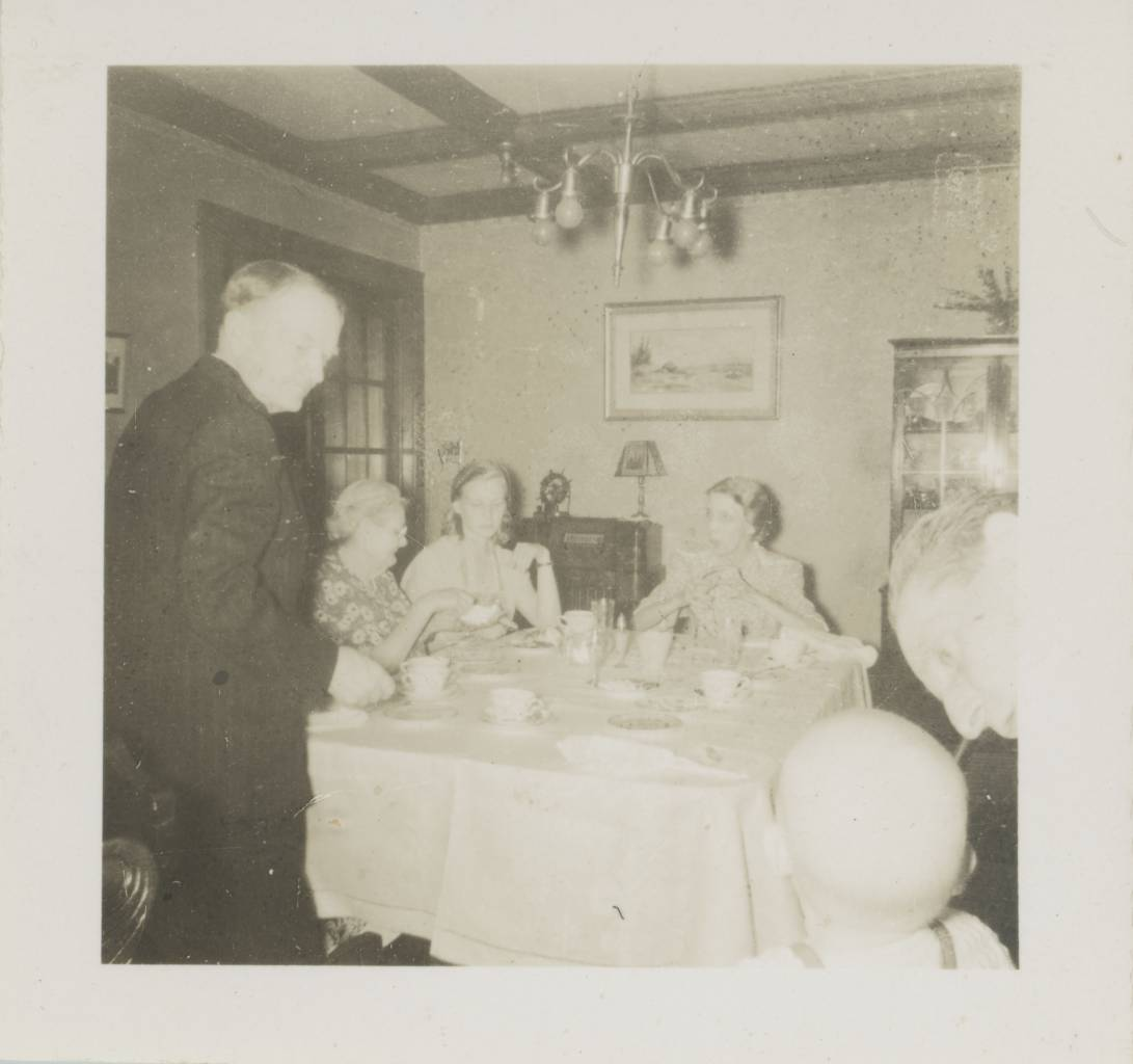 early pic of me (Ted Polhemus - bald head bottom right) with, from left to right, my mother's father the Rev Joseph W Chasey, my father's mother Nancy Allgor (sp?)-Polhemus, my mother (Peggy Chasey-Polhemus), my mother's mother Carrie Chasey and, far right, my father's father Russell Polhemus - I would guess taken at my mother's parents' home in Interlaken, New Jersey, USA