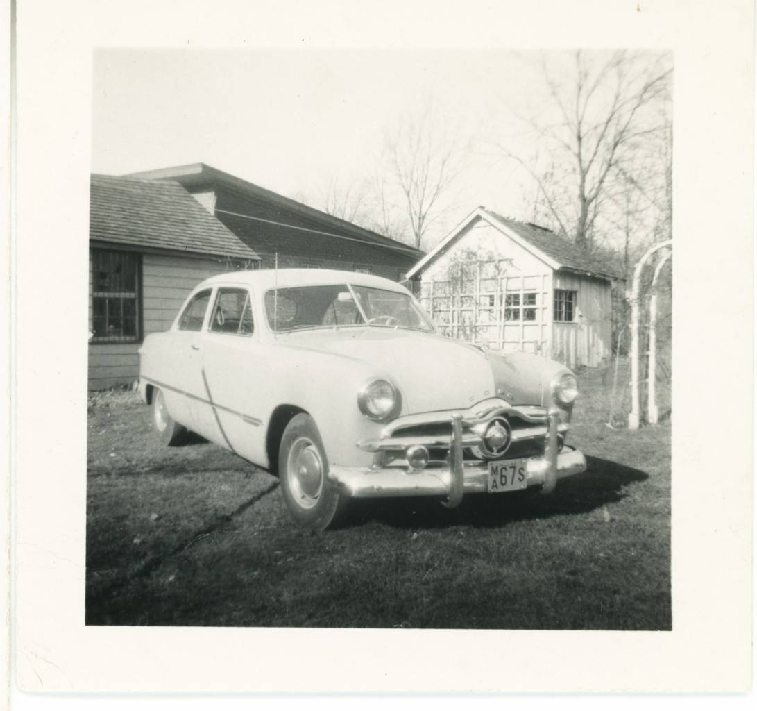 he first photo of me shows, off to the side, what I've been told is a 1938 Plymouth with an extra, showy 'over-rider' bumper fitted (the same car Philip Marlowe drove in the 1946 film of The Big Sleep). I'm guessing that this must have been a new family car in 1948/9 photographed I think at 19 Oak Terrace, Neptune City, New Jersey, USA