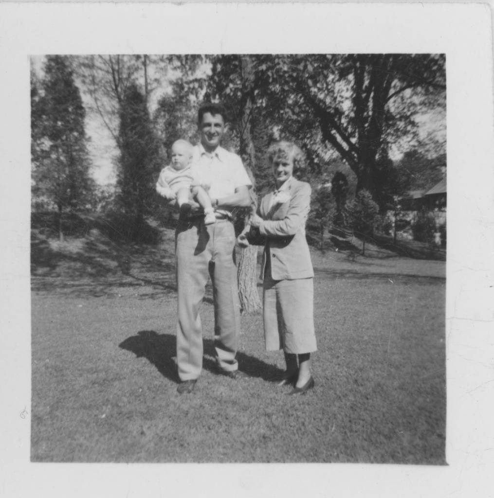 (Ted Polhemus) with my parents (Charles and Peggy Polhemus), (I think) backyard of my mother's parents' home in Interlaken, New Jersey, 1947-8