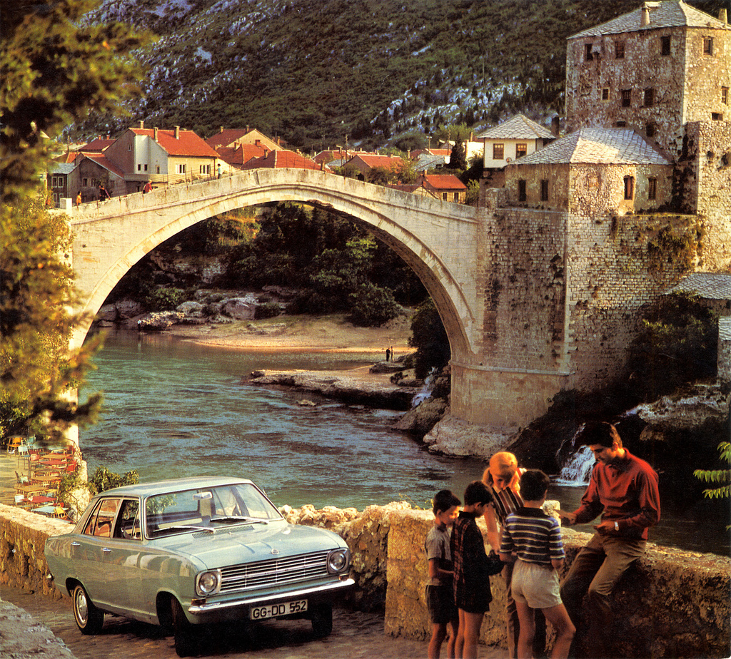 Opel Kadett at the Mostar bridge 1970 Opel calender - Mostar, Bosnia-Hercegovina
