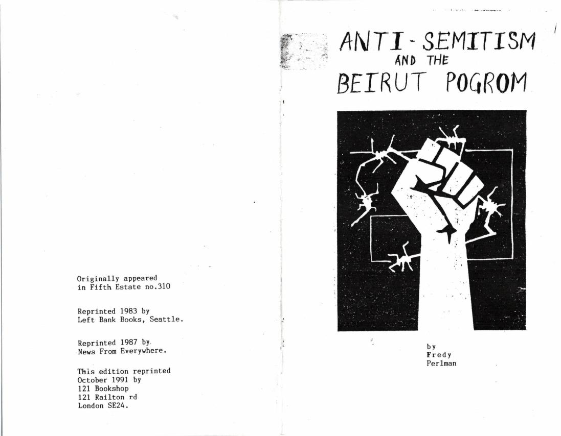 Anti-Semitism and the Beirut Pogrom zinw
