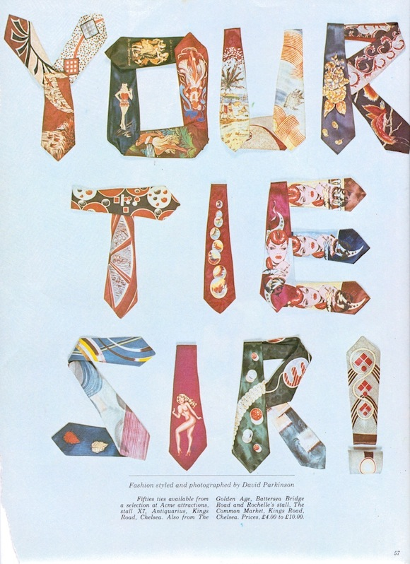 Parkinson used ties from his collection – including some sourced from Acme – for this March 1975 Club International feature