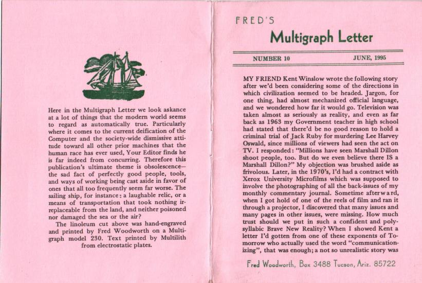 Fred's Multigraph Letter Number 10