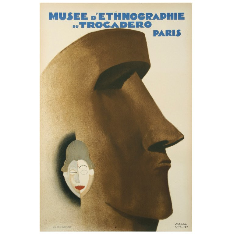 French Art Deco Period Ethnographic Museum Poster by Paul Colin, 1930