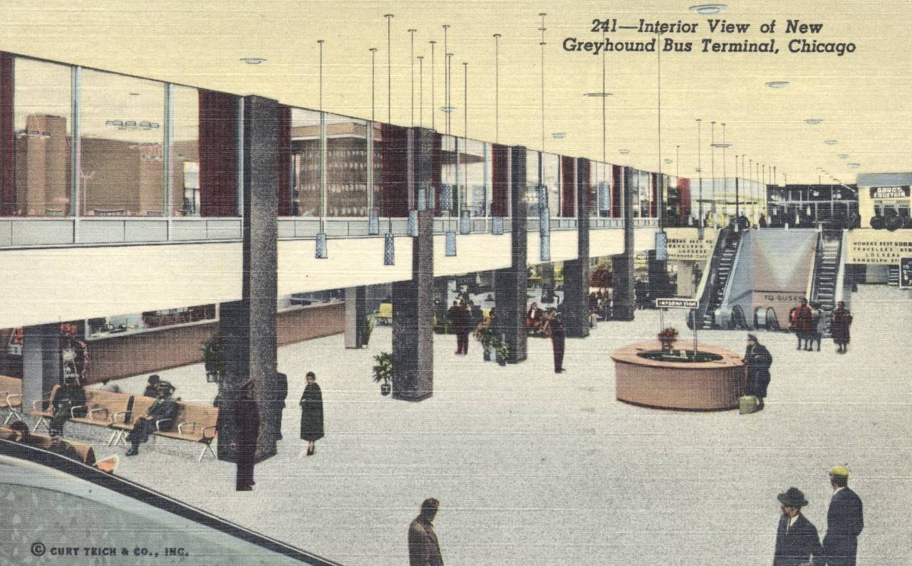 Greyhound Bus Terminal Interior postcard